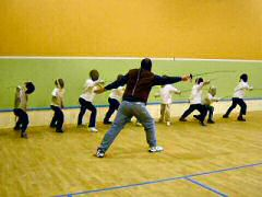 Tony Coton giving Junior Fencing Class